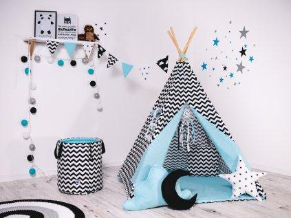 Set teepee (týpí) cik cak černý - stan pro děti