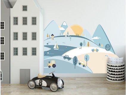 Nálepka na zeď barevné hory blankytné