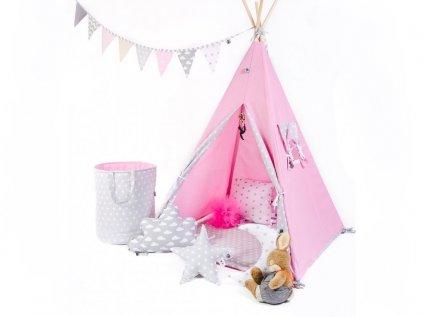 Set teepee stan pro holčičky od ELIS DESIGN v purpurové, šedé a bílé barvě
