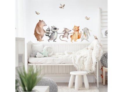 Nálepka na zeď veselá zvířátka