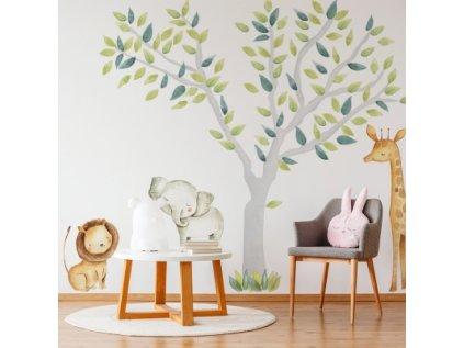 Nálepka na zeď safari zvířátka a strom