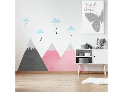 Nálepka na zeď hory pod mraky růžová