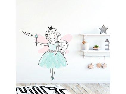 Nálepka na zeď barevné postavičky víla Zuzka