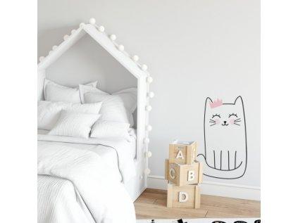 Nálepka na zeď barevné postavičky koťátko