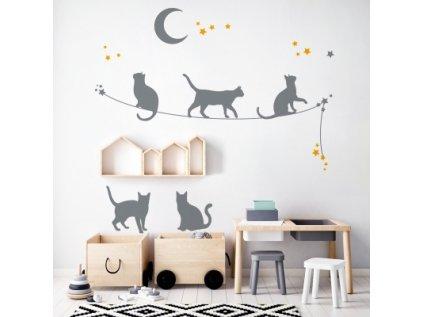 Designová samolepka stínových obrázků koček je velice elegantní a působivá dekorace na zeď dětského pokoje