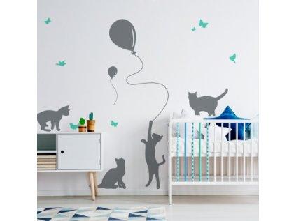 Designová samolepka s atraktivními stínovými obrázky koček je vkusným originálním doplňkem dětského pokoje