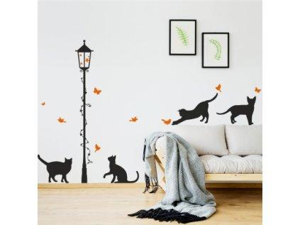 Designová samolepka stínových obrázků koček pod lampou je velice elegantní a působivá dekorace na zeď dětského pokoje