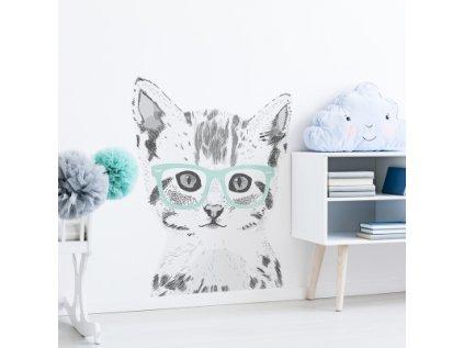 Stylová samolepka na zeď s kočkou bude ozdobou dětského pokoje. Osobitý design s akcentem na výrazný prvek brýlí najde uplatnění v každém interiéru.
