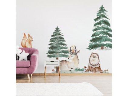 Nálepka na zeď jelen ježek veverka 2