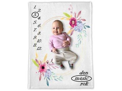 Milníková deka s květy