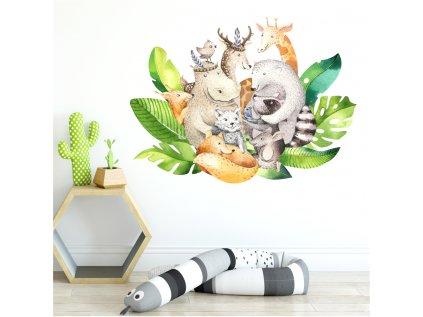 Originální nástěnná samolepka v přírodních barvách, zobrazující skupinu zvířátek z různých koutů světa, dodá dětskému pokoji na atraktivitě.