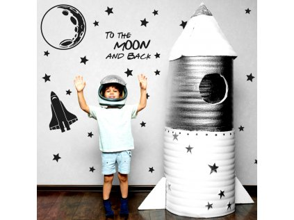 Originální nástěnná samolepka s kosmickým designem do pokojů zvídavých dětí.