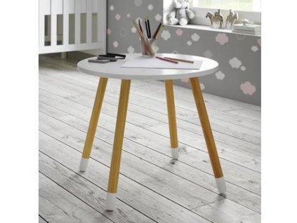 Dětský stůl z přírodních materiálů s kulatou deskou je vkusným a praktickým doplňkem dětského pokoje.