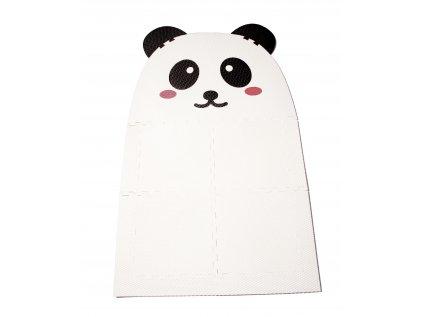 Měkkým designový pěnový koberec z puzzle dílů ve tvaru Pandy, který si můžete v dětském pokojiposkládat velký tak, jak potřebujete.