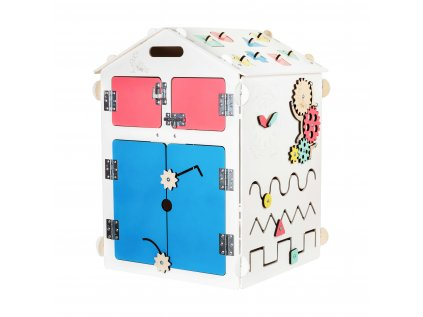 Activity Board domeček je interaktivní hračka typu Montessori, která na dlouhou dobu zaujme zvídavou dětskou duši