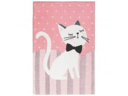 Kusový dětský koberec v pastelových barvách s bílou kočkou si zamilují všechny holčičky