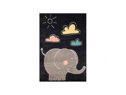 Dětský kusový koberec - Slon, barevně oživí každý dětský pokojíček