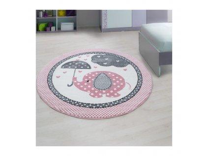 Dětský kulatý koberec - Růžový slon, oživí a zútulní každý dívčí pokojíček