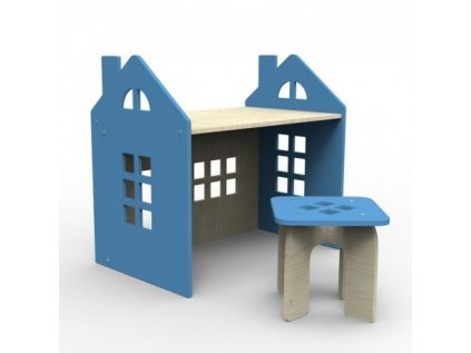 Modrý psací stůl domeček