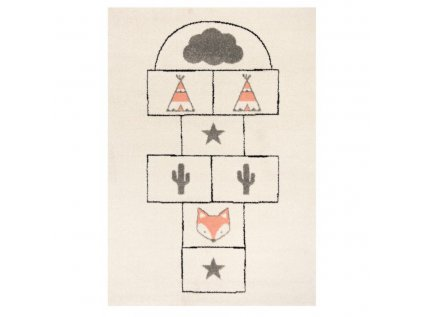 Originální a moderní dětský koberec s indiánským skákacím panákem oživí každý dětský pokojíček