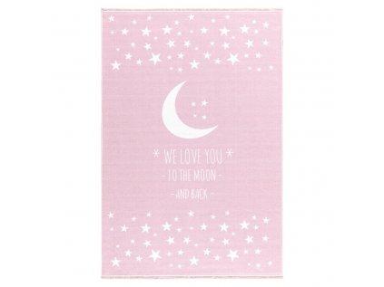 Vysoce kvalitní dětský koberec s měsícem a hvězdami v růžové barvě vám umožní cestovat na měsíc a zpět