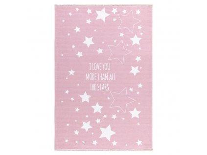 Vysoce kvalitní dětský kusový koberec v růžové barvě s hvězdami vyjadřuje lásku