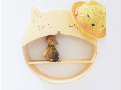 Polička dřevěná pro děti - kočička
