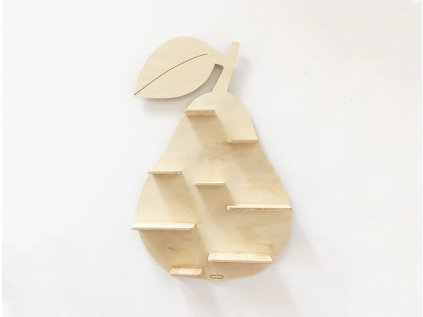 dřevěná polička hruška