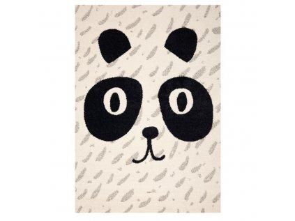 Moderní dětský koberec v béžové barvě s pandou oživí a zútulní každý dětský pokojíček