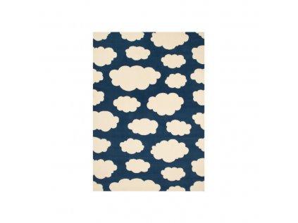 Kusový dětský koberec v tmavě modré barvě s obláčky vhodný do každého pokojíčku