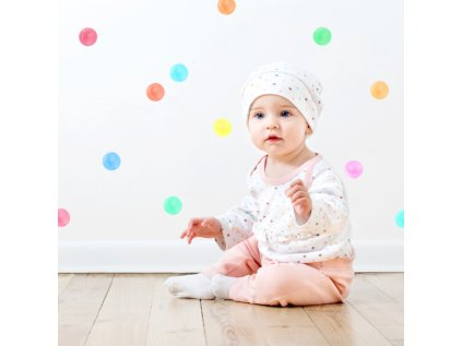 samolepky puntíky pastelové barvy