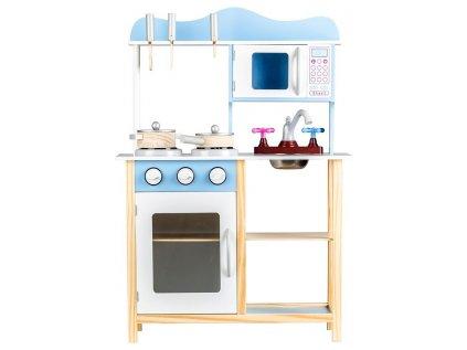 Dětská dřevěná kuchyňka v modré barvě nejen pro kluky