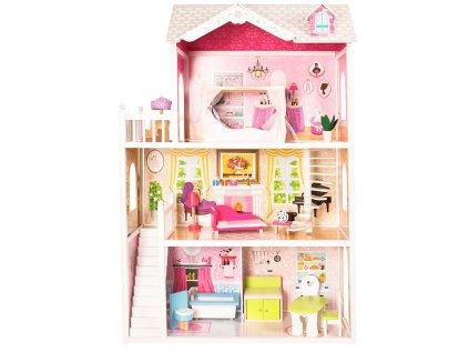 Dřevěný domeček pro panenky Barbie a její kamarádky podobných rozměrů