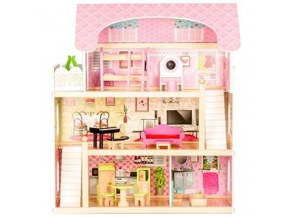 Krásný domeček pro panenky ze dřeva v tlumených pastelových barvách