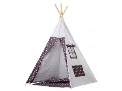 Bílý dětský teepee (týpí) stan - Bílý s hvězdnou oblohou se stane skvělým herním prvkem nejen v pokoji Vašeho dítěte