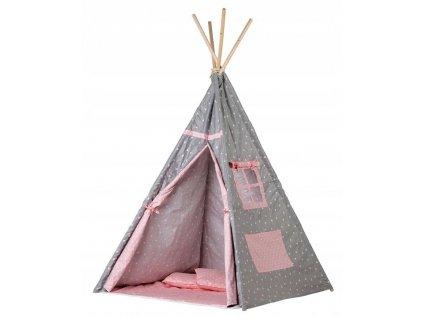 Šedý s trojúhelníčky je dětský teepee (týpí) stan určený především pro holčičky