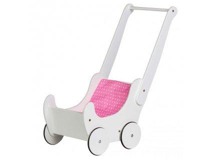 Dřevěný bílý vozíček (kočárek) pro panenky a jiné hračky