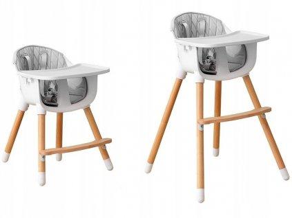 Dětská rostoucí jídelní židlička 2v1 se světle šedým potahem