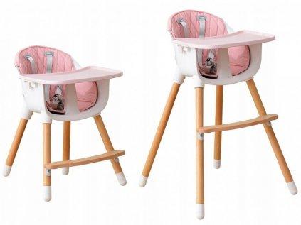 Růžová dětská rostoucí jídelní židlička 2v1 s růžovým potahem