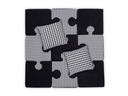 puzzle polštáře černobílá