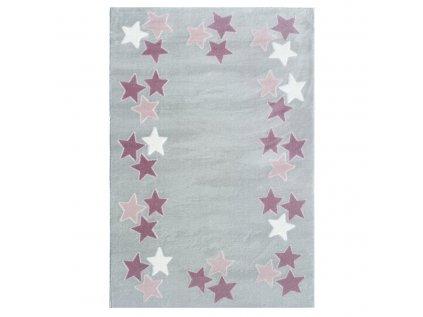 růžové hvězdy na krémovém koberci