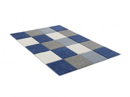 Kvalitní modrý kusový koberec šachovnice