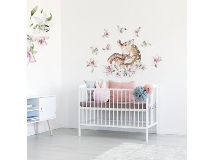 nálepka na zeď srneček s liliemi