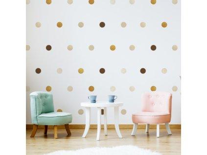 nálepky na stěnu dětský pokoj puntíky hnědo-zlaté