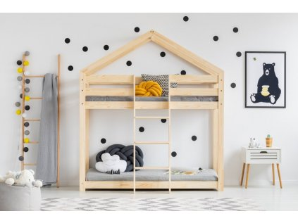 Kvalitní patrová postel v oblíbeném designu, domeček pro klidný spánek i denní dětské hry.