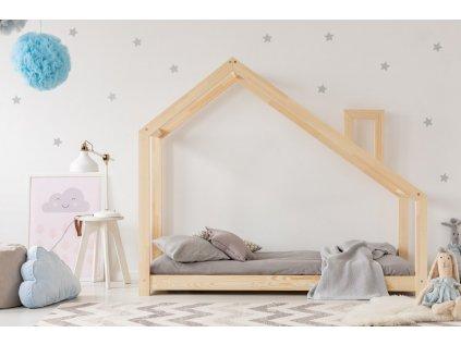 Kvalitní dětská postel z borovice v oblíbeném designu, domeček pro klidný spánek i denní dětské hry.