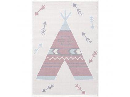 krémový koberec s teepee