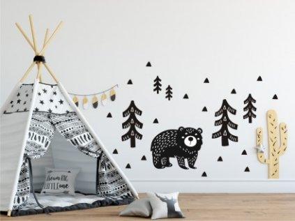 Nálepka na zeď- medvídek v lese