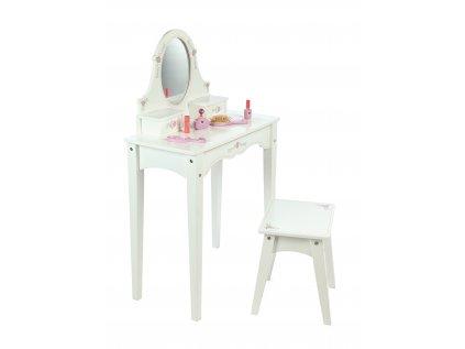 Dřevěný kosmetický stoleček bílý