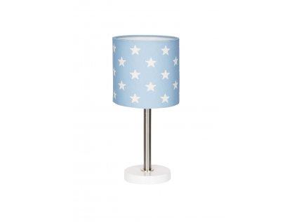 Moderní dětská stolní lampička v nadčasovém designu - Modrá s hvězdami nejen do klučičího pokoje